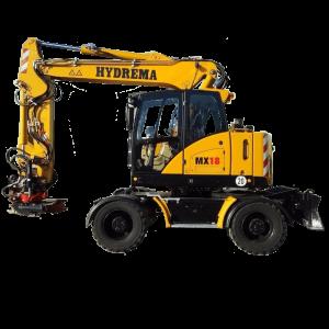 Vermietung Erdbaumaschinen Mobilbagger Hydrema MX18 ZWO Baumaschinen-Service GmbH